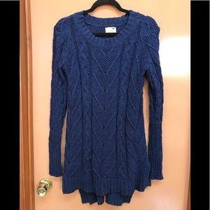LA Hearts Long Navy Cable open knit sweater Sz XS